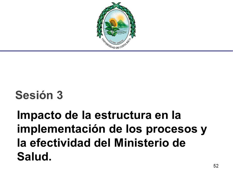 Impacto de la estructura en la implementación de los procesos y la efectividad del Ministerio de Salud. Sesión 3 52