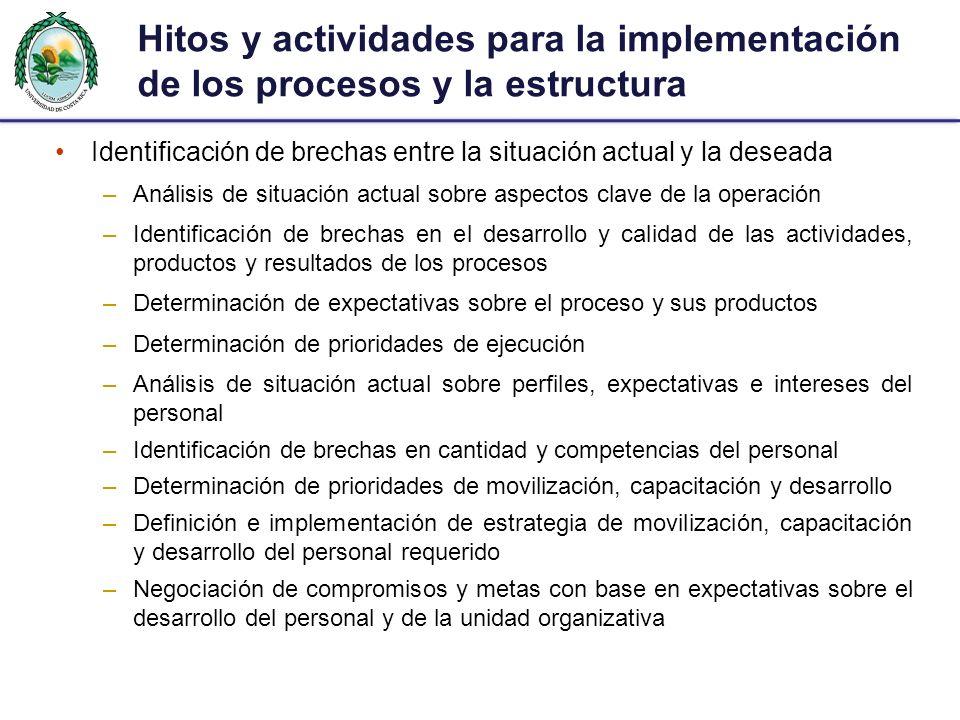 Hitos y actividades para la implementación de los procesos y la estructura Identificación de brechas entre la situación actual y la deseada –Análisis