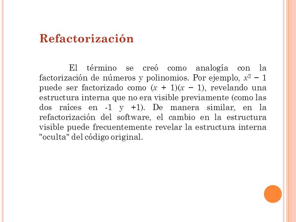 Refactorización La refactorización debe ser realizada como un paso separado, para poder comprobar con mayor facilidad que no se han introducido errores al llevarla a cabo.