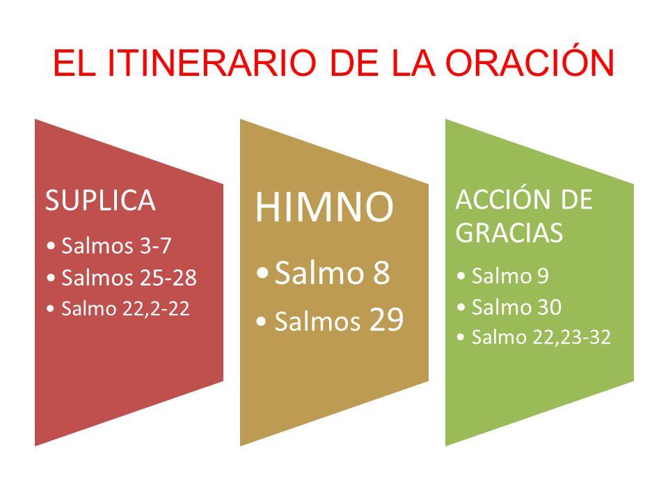 EL ITINERARIO DE LA ORACIÓN SUPLICA Salmos 3-7 Salmos 25-28 Salmo 22,2-22 HIMNO Salmo 8 Salmos 29 ACCIÓN DE GRACIAS Salmo 9 Salmo 30 Salmo 22,23-32