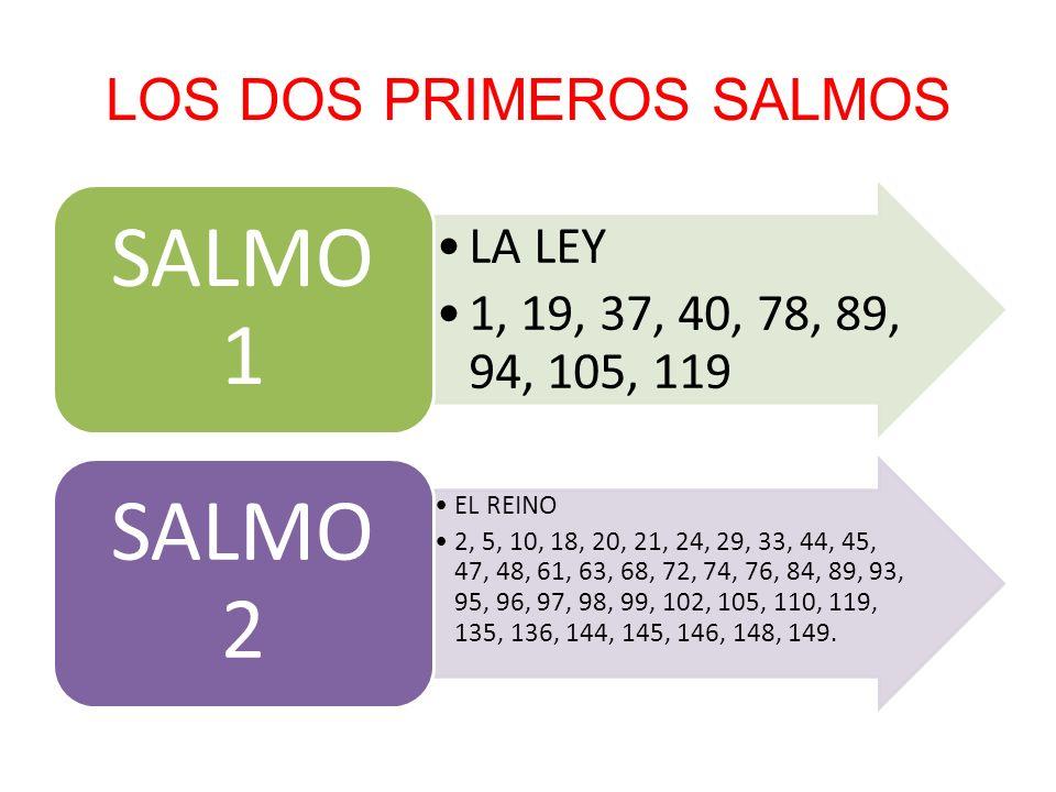 LOS DOS PRIMEROS SALMOS LA LEY 1, 19, 37, 40, 78, 89, 94, 105, 119 SALMO 1 EL REINO 2, 5, 10, 18, 20, 21, 24, 29, 33, 44, 45, 47, 48, 61, 63, 68, 72,