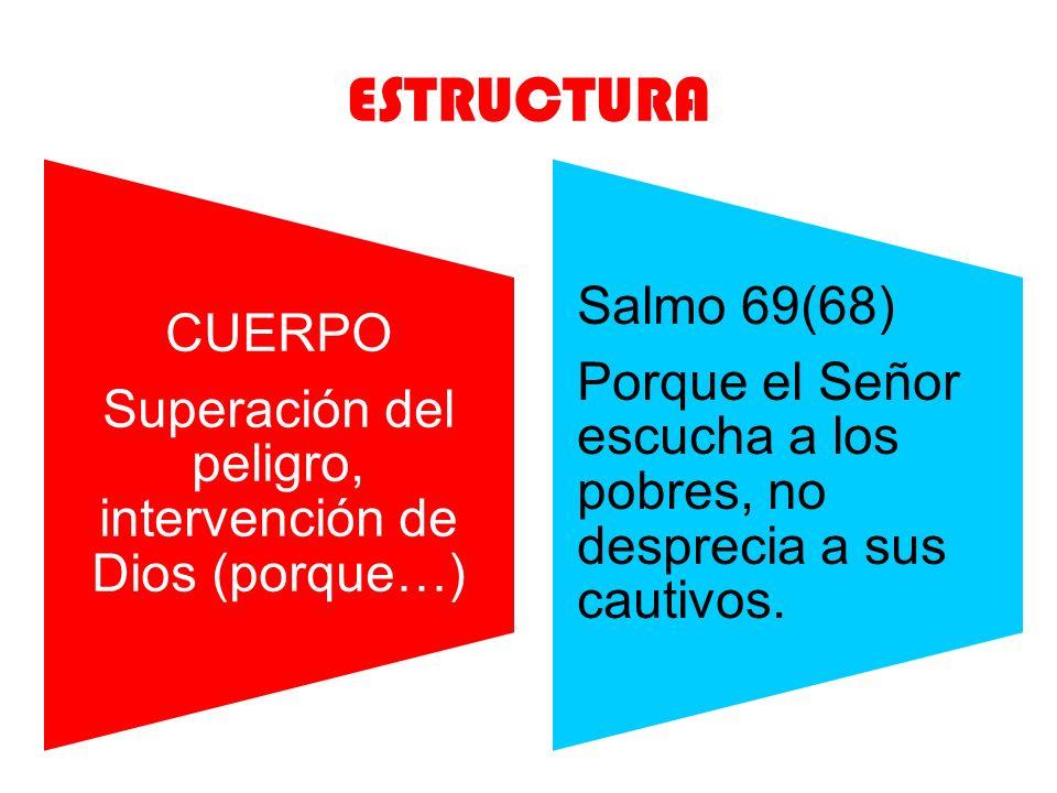 ESTRUCTURA CUERPO Superación del peligro, intervención de Dios (porque…) Salmo 69(68) Porque el Señor escucha a los pobres, no desprecia a sus cautivo