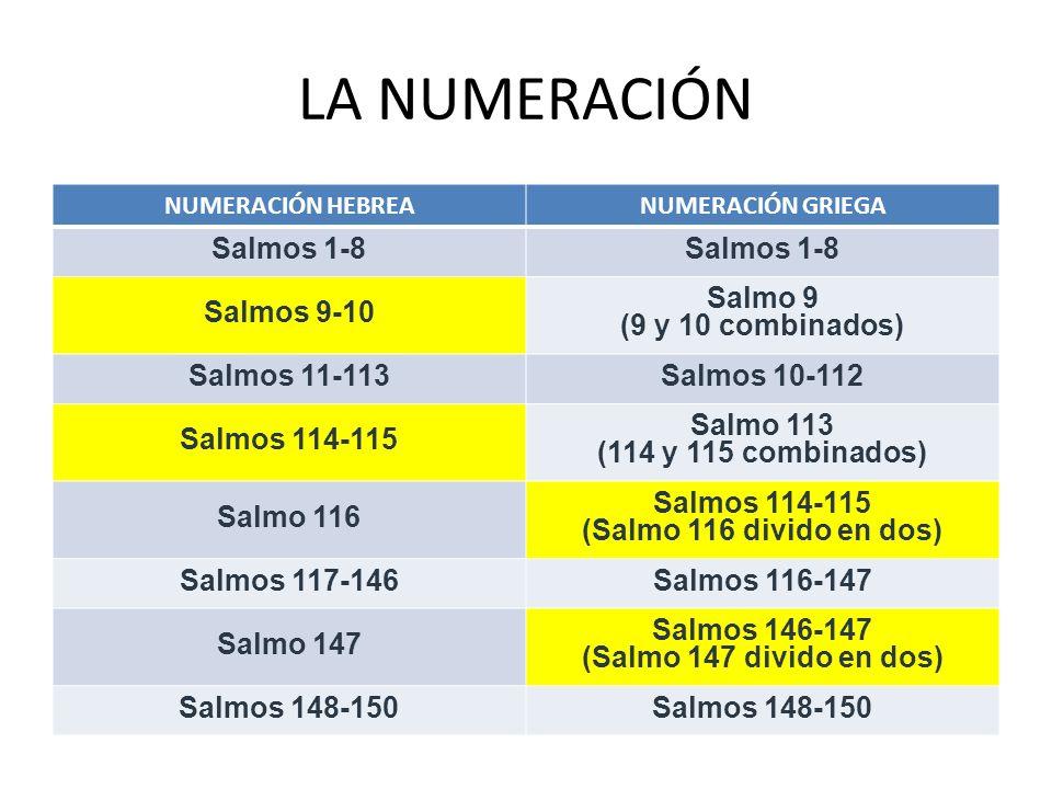 LA NUMERACIÓN NUMERACIÓN HEBREANUMERACIÓN GRIEGA Salmos 1-8 Salmos 9-10 Salmo 9 (9 y 10 combinados) Salmos 11-113Salmos 10-112 Salmos 114-115 Salmo 11