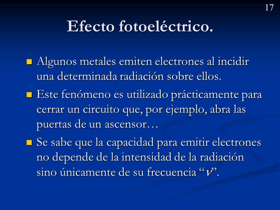 16 Ejemplo: ¿Puede un átomo absorber una radiación de 4,70 x 10 -19 J.