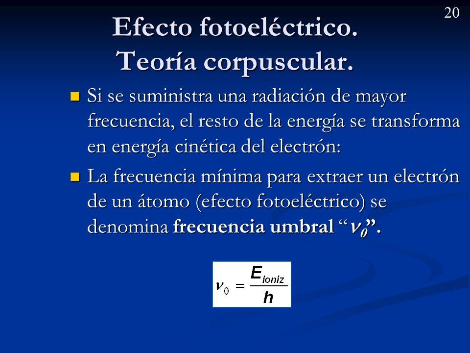 19 Efecto fotoeléctrico. La frecuencia mínima para extraer un electrón de un átomo (efecto fotoeléctrico) se denomina frecuencia umbral 0. La frecuenc