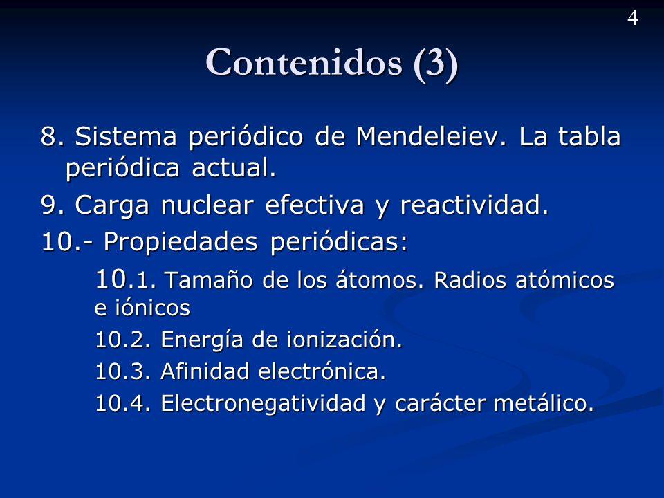 3 Contenidos (2) 5.- Principios de la mecánica cuántica.