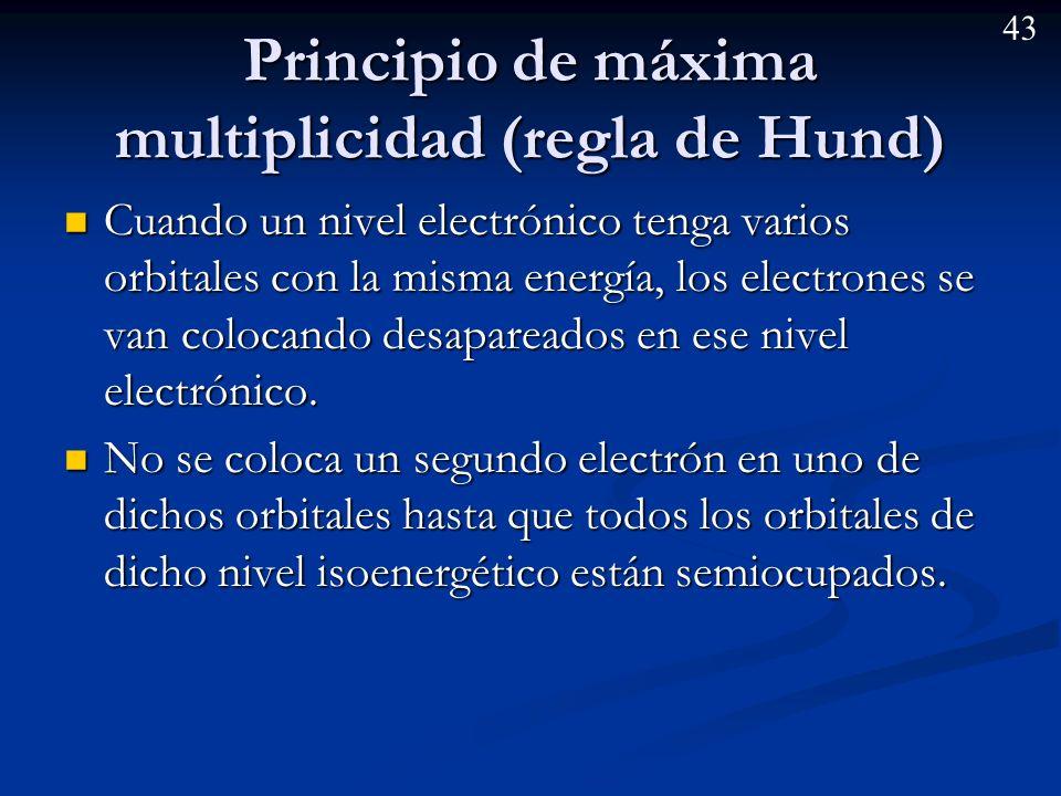 42 Principio de mínima energía (aufbau) Los electrones se colocan siguiendo el criterio de mínima energía. Los electrones se colocan siguiendo el crit