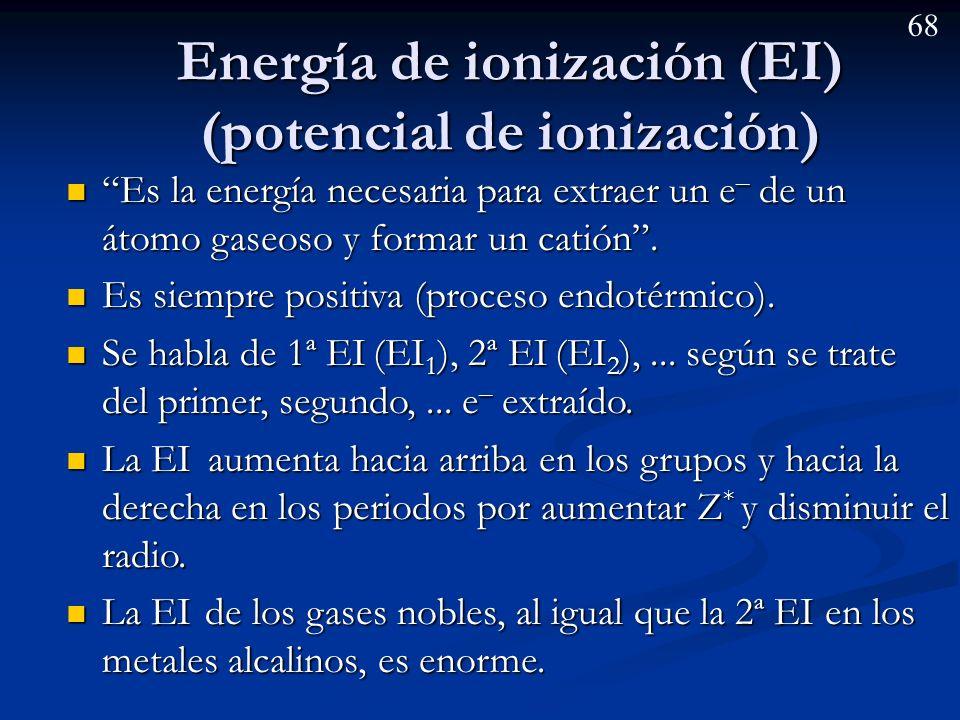 67 Ejemplo: a) De las siguientes secuencias de iones, razone cual se corresponde con la ordenación en función de los radios iónicos: (I) Be 2+ < Li + < F - < N 3-, (II) Li + <Be 2+ < N 3- < F - ; b) Ordene de mayor a menor los radios de los elementos de que proceden.