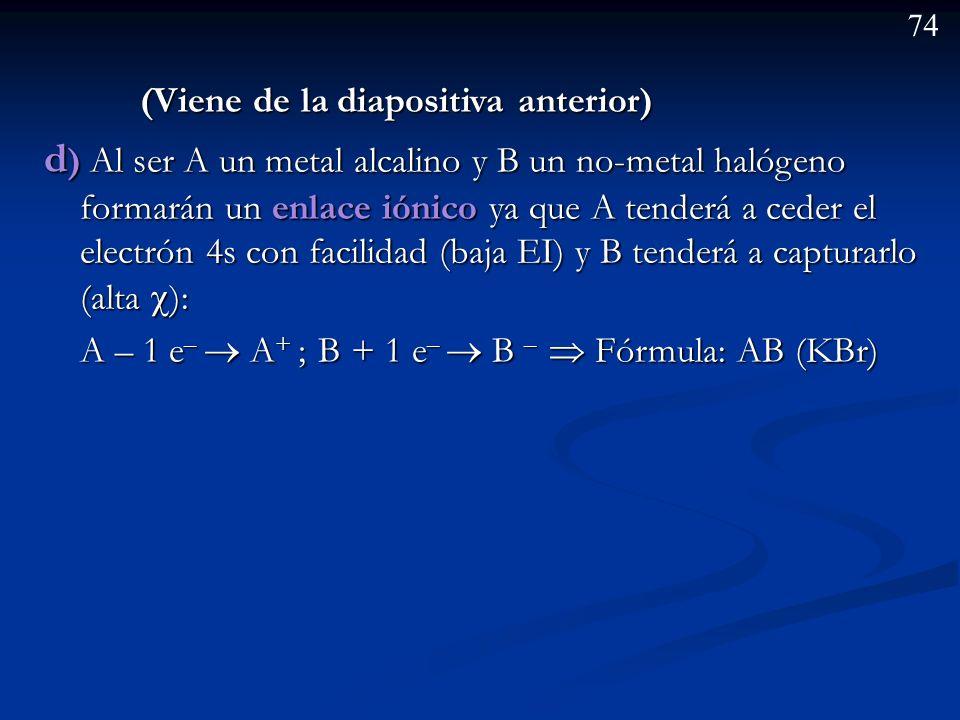 73 Ejemplo: Dados los elementos A y B de números atómicos 19 y 35 respectivamente: a) Establezca la configuración electrónica de cada uno de ellos. b)