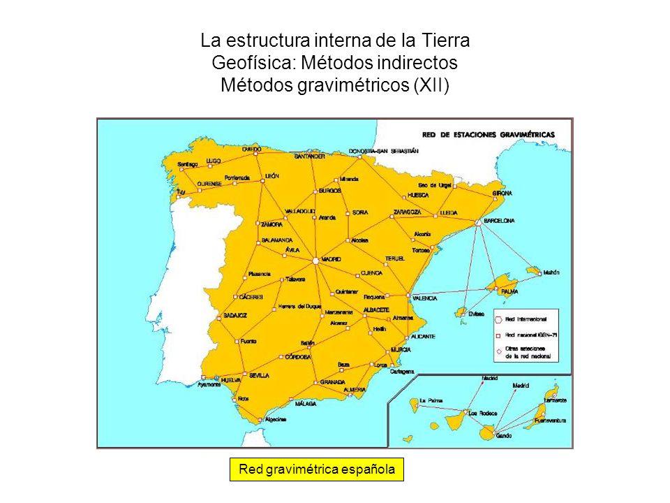 La estructura interna de la Tierra Geofísica: Métodos indirectos Métodos gravimétricos (XII) Red gravimétrica española