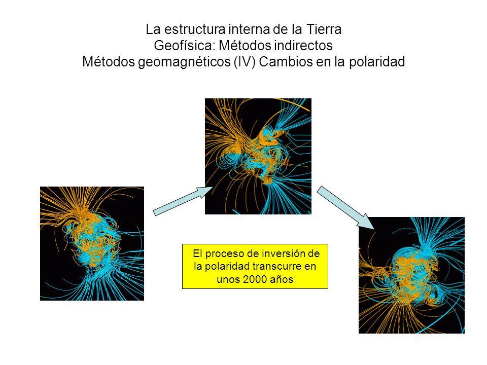 La estructura interna de la Tierra Geofísica: Métodos indirectos Métodos geomagnéticos (IV) Cambios en la polaridad El proceso de inversión de la pola