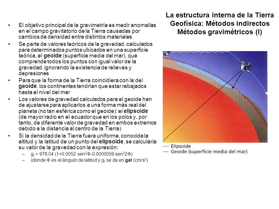 La estructura interna de la Tierra Geofísica: Métodos indirectos Métodos gravimétricos (I) El objetivo principal de la gravimetría es medir anomalías