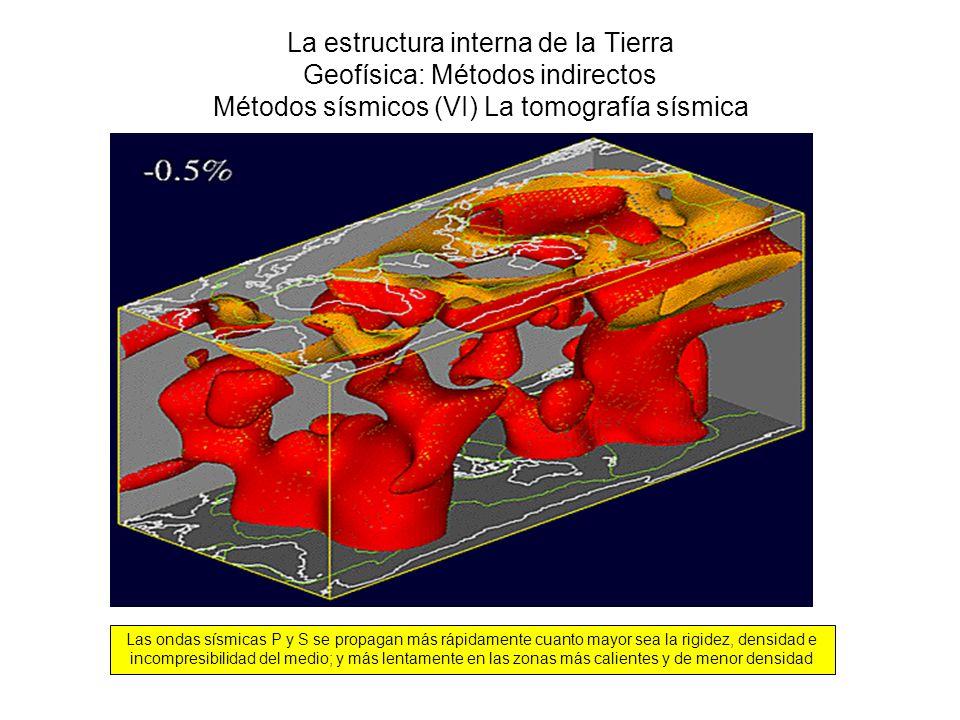 La estructura interna de la Tierra Geofísica: Métodos indirectos Métodos sísmicos (VI) La tomografía sísmica Las ondas sísmicas P y S se propagan más