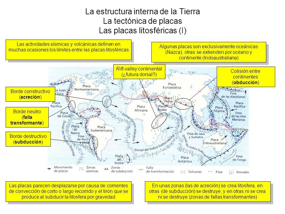 La estructura interna de la Tierra La tectónica de placas Las placas litosféricas (I) Las actividades sísmicas y volcánicas definen en muchas ocasione