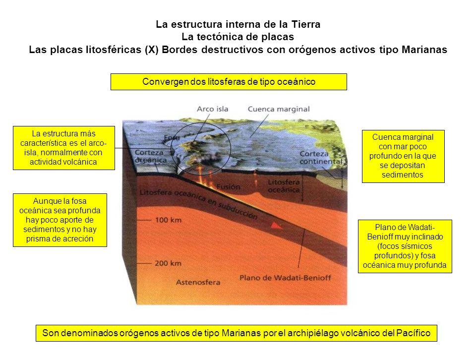 La estructura interna de la Tierra La tectónica de placas Las placas litosféricas (X) Bordes destructivos con orógenos activos tipo Marianas Son denom