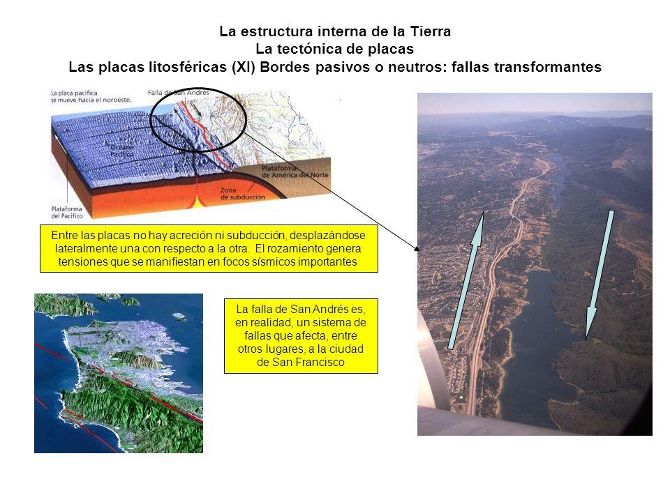 La estructura interna de la Tierra La tectónica de placas Las placas litosféricas (XI) Bordes pasivos o neutros: fallas transformantes Entre las placa