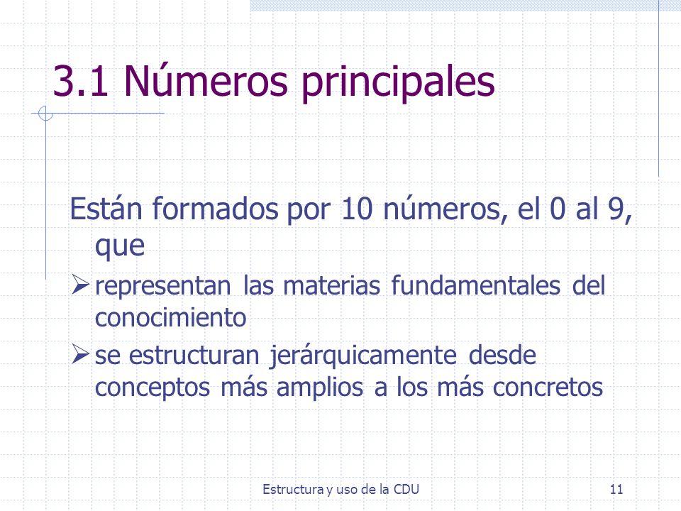 Estructura y uso de la CDU11 3.1 Números principales Están formados por 10 números, el 0 al 9, que representan las materias fundamentales del conocimi