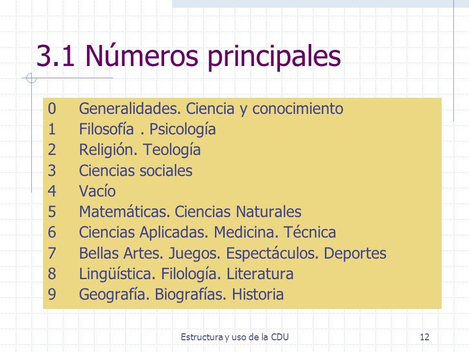 Estructura y uso de la CDU12 3.1 Números principales 0Generalidades. Ciencia y conocimiento 1Filosofía. Psicología 2Religión. Teología 3Ciencias socia