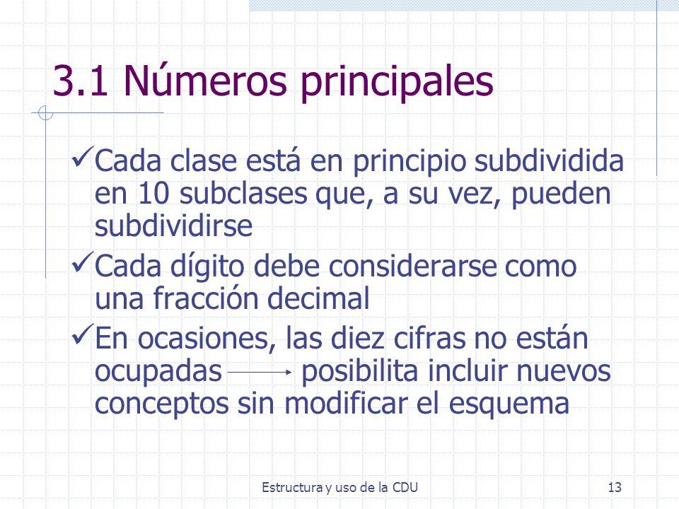 Estructura y uso de la CDU13 3.1 Números principales Cada clase está en principio subdividida en 10 subclases que, a su vez, pueden subdividirse Cada