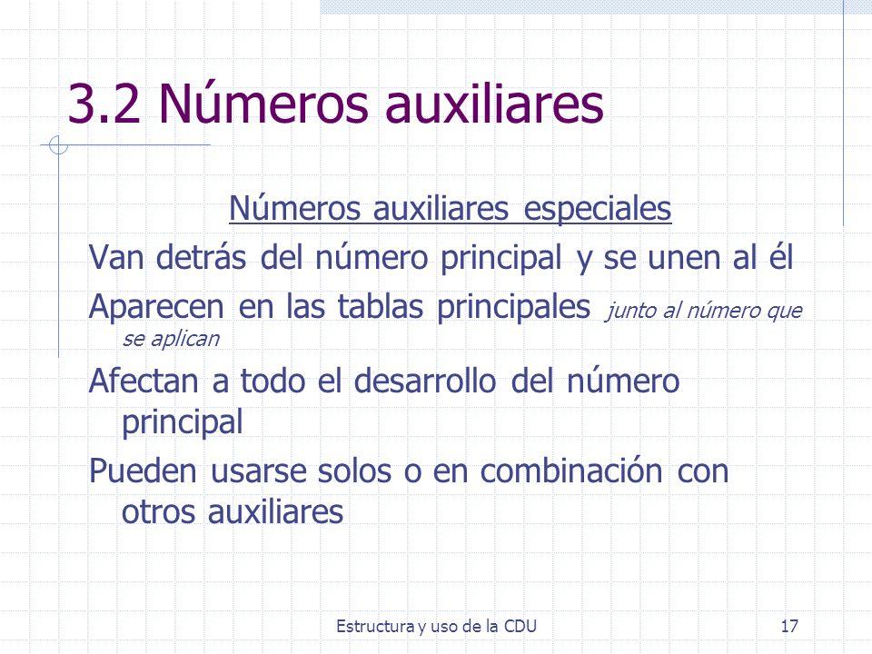Estructura y uso de la CDU17 3.2 Números auxiliares Números auxiliares especiales Van detrás del número principal y se unen al él Aparecen en las tabl