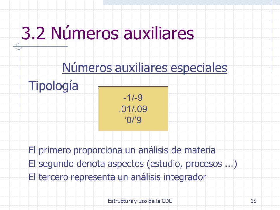 Estructura y uso de la CDU18 3.2 Números auxiliares Números auxiliares especiales Tipología El primero proporciona un análisis de materia El segundo d