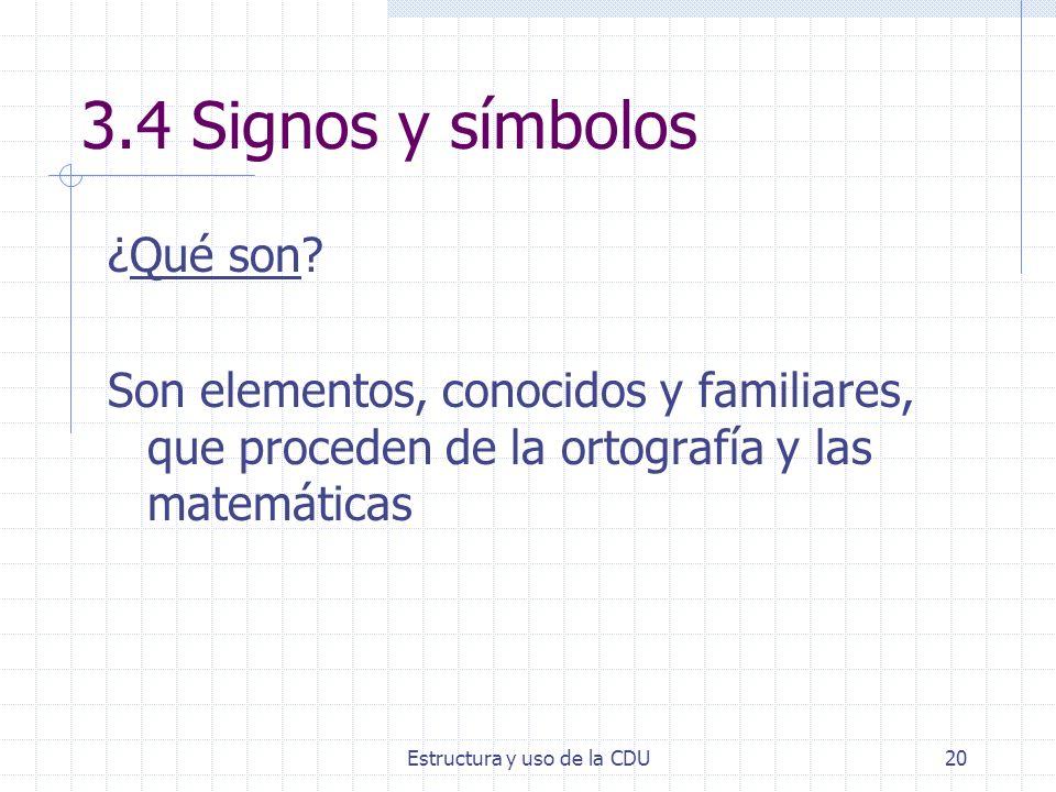 Estructura y uso de la CDU20 3.4 Signos y símbolos ¿Qué son? Son elementos, conocidos y familiares, que proceden de la ortografía y las matemáticas