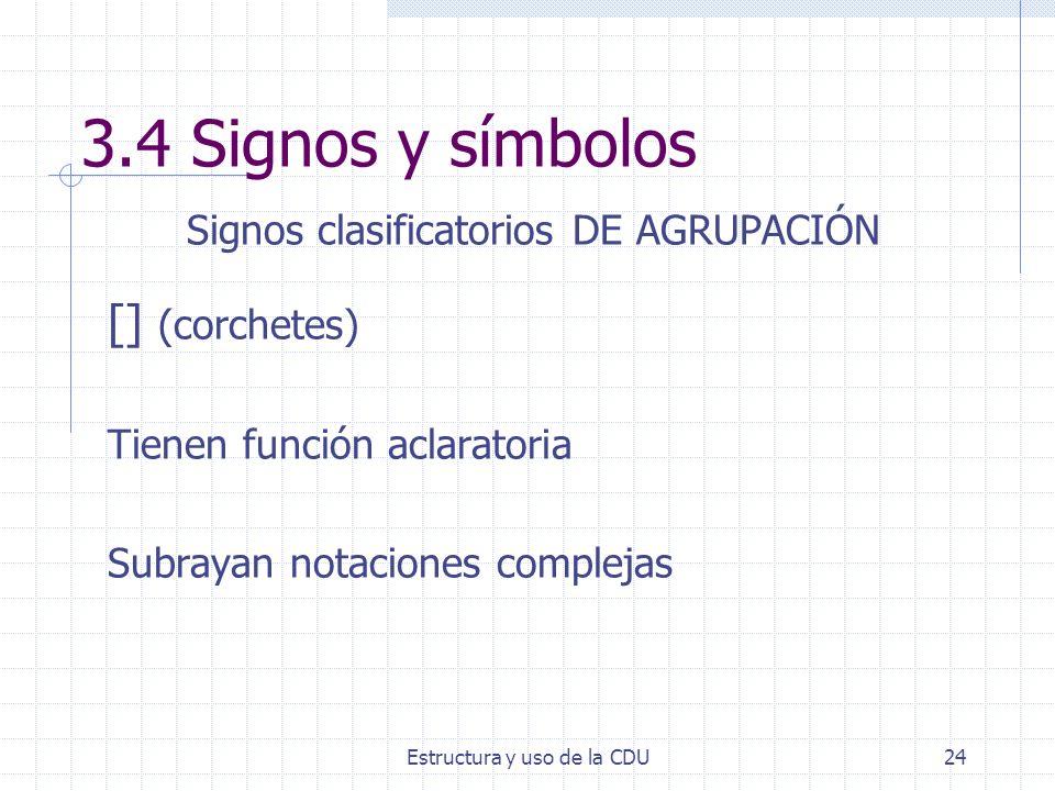 Estructura y uso de la CDU24 3.4 Signos y símbolos Signos clasificatorios DE AGRUPACIÓN [] (corchetes) Tienen función aclaratoria Subrayan notaciones