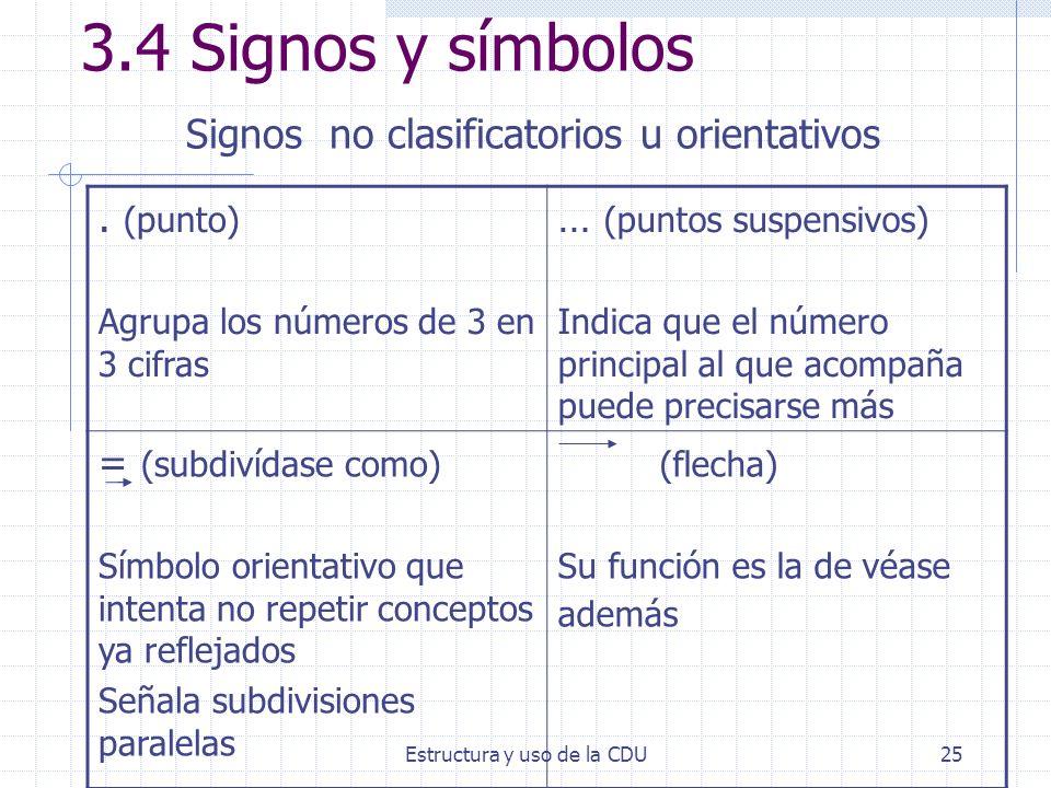 Estructura y uso de la CDU25 3.4 Signos y símbolos Signos no clasificatorios u orientativos. (punto) Agrupa los números de 3 en 3 cifras … (puntos sus