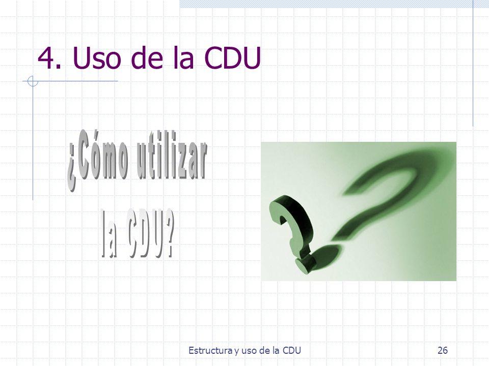 Estructura y uso de la CDU26 4. Uso de la CDU
