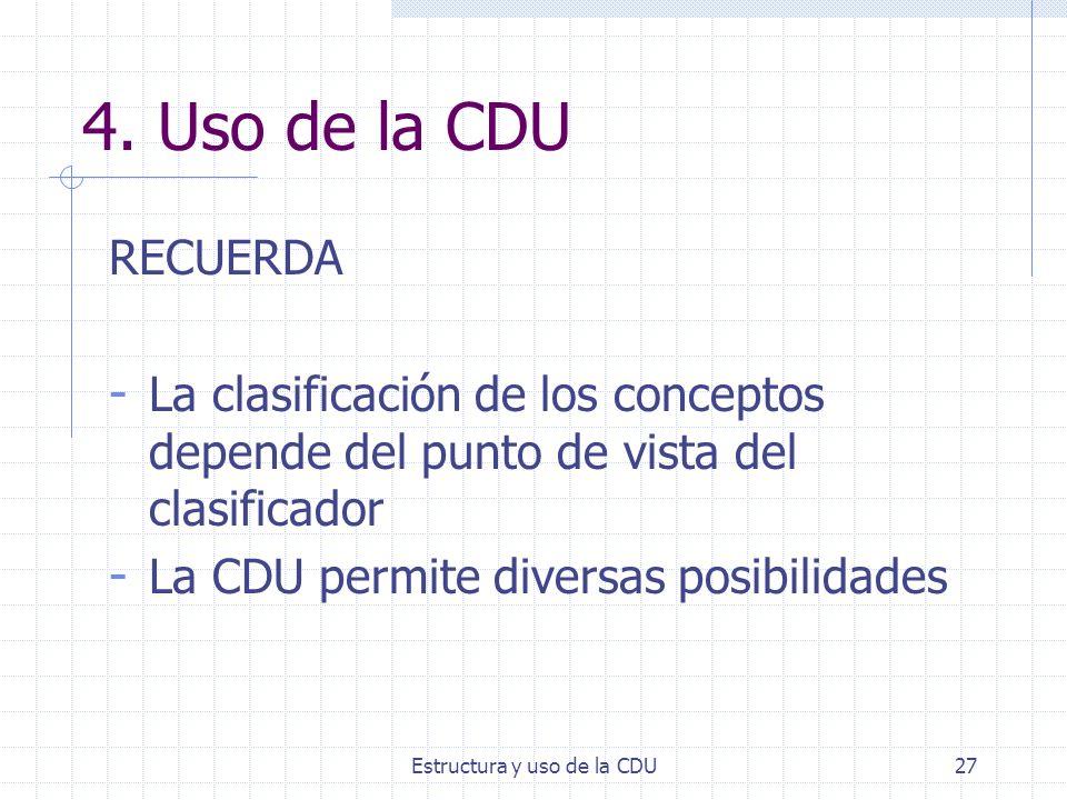 Estructura y uso de la CDU27 4. Uso de la CDU RECUERDA - La clasificación de los conceptos depende del punto de vista del clasificador - La CDU permit