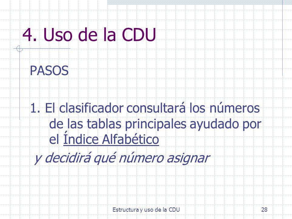 Estructura y uso de la CDU28 4. Uso de la CDU PASOS 1. El clasificador consultará los números de las tablas principales ayudado por el Índice Alfabéti