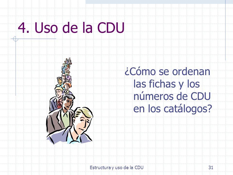 Estructura y uso de la CDU31 4. Uso de la CDU ¿Cómo se ordenan las fichas y los números de CDU en los catálogos?