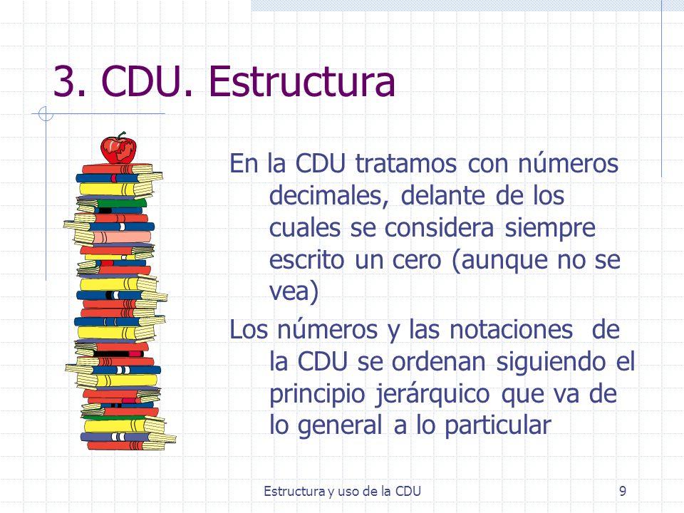 Estructura y uso de la CDU9 3. CDU. Estructura En la CDU tratamos con números decimales, delante de los cuales se considera siempre escrito un cero (a