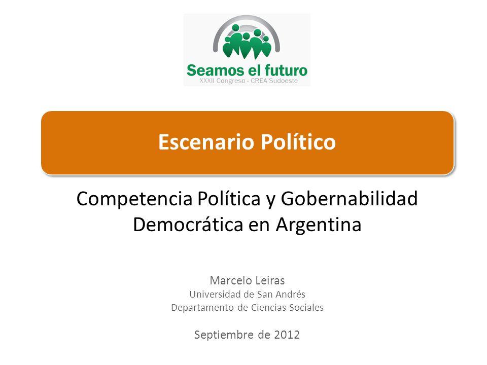Marcelo Leiras Universidad de San Andrés Departamento de Ciencias Sociales Septiembre de 2012 Competencia Política y Gobernabilidad Democrática en Argentina
