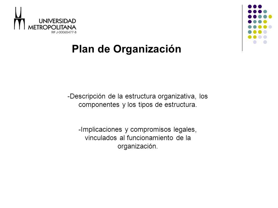 -Descripción de la estructura organizativa, los componentes y los tipos de estructura.