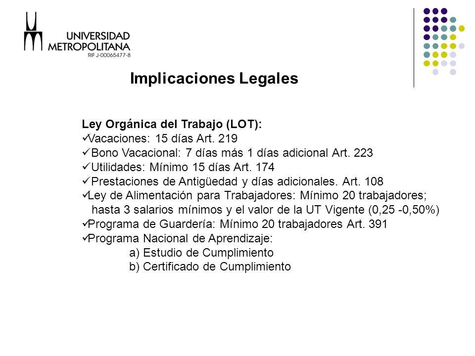 Ley Orgánica del Trabajo (LOT): Vacaciones: 15 días Art.