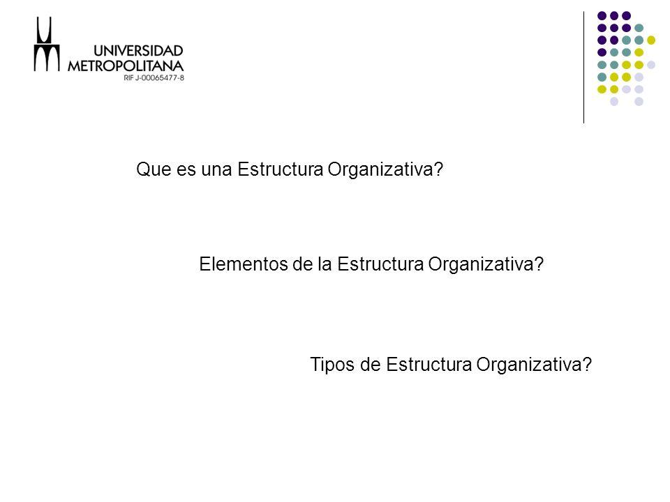 Estructura Organizativa Es la formalización de las relaciones ente las personas que trabajan en una organización y las unidades organizacionales creadas para cumplir con las actividades de la empresa.