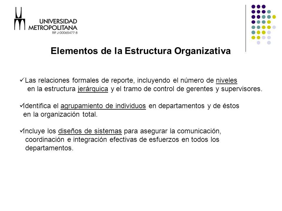 Elementos de la Estructura Organizativa Las relaciones formales de reporte, incluyendo el número de niveles en la estructura jerárquica y el tramo de control de gerentes y supervisores.