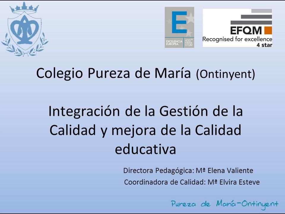 Colegio Pureza de María (Ontinyent) Integración de la Gestión de la Calidad y mejora de la Calidad educativa Directora Pedagógica: Mª Elena Valiente C