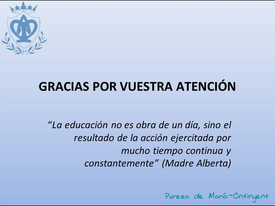 GRACIAS POR VUESTRA ATENCIÓN La educación no es obra de un día, sino el resultado de la acción ejercitada por mucho tiempo continua y constantemente (