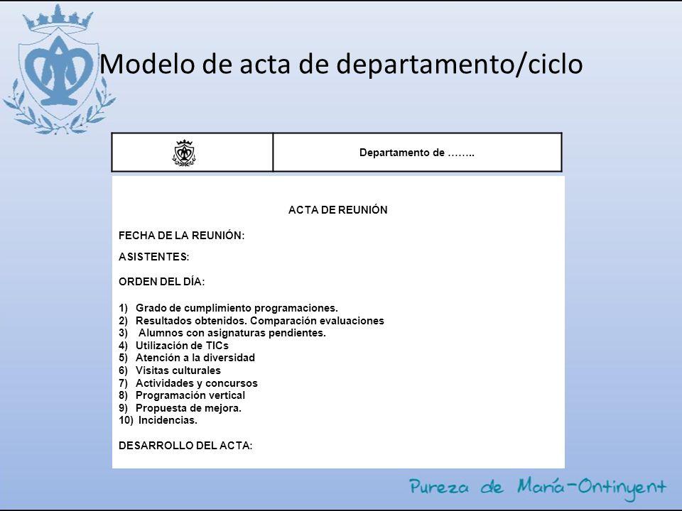 Modelo de acta de departamento/ciclo Departamento de …….. ACTA DE REUNIÓN FECHA DE LA REUNIÓN: ASISTENTES: ORDEN DEL DÍA: 1)Grado de cumplimiento prog