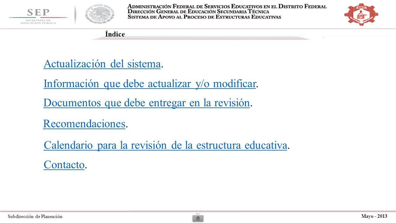 Subdirección de Planeación Mayo - 2013 Actualización del sistema.