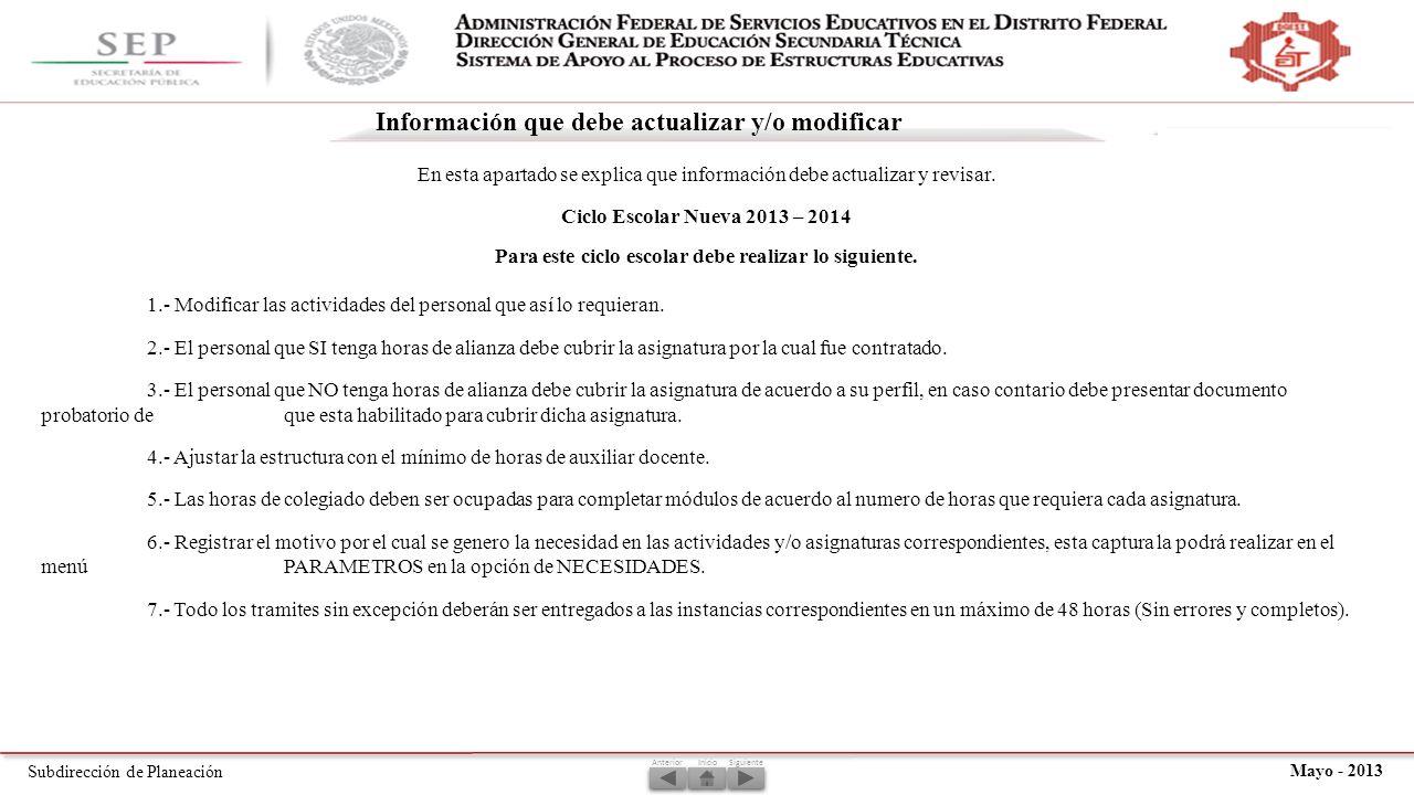 Subdirección de Planeación Mayo - 2013 En esta apartado se explica que información debe actualizar y revisar.