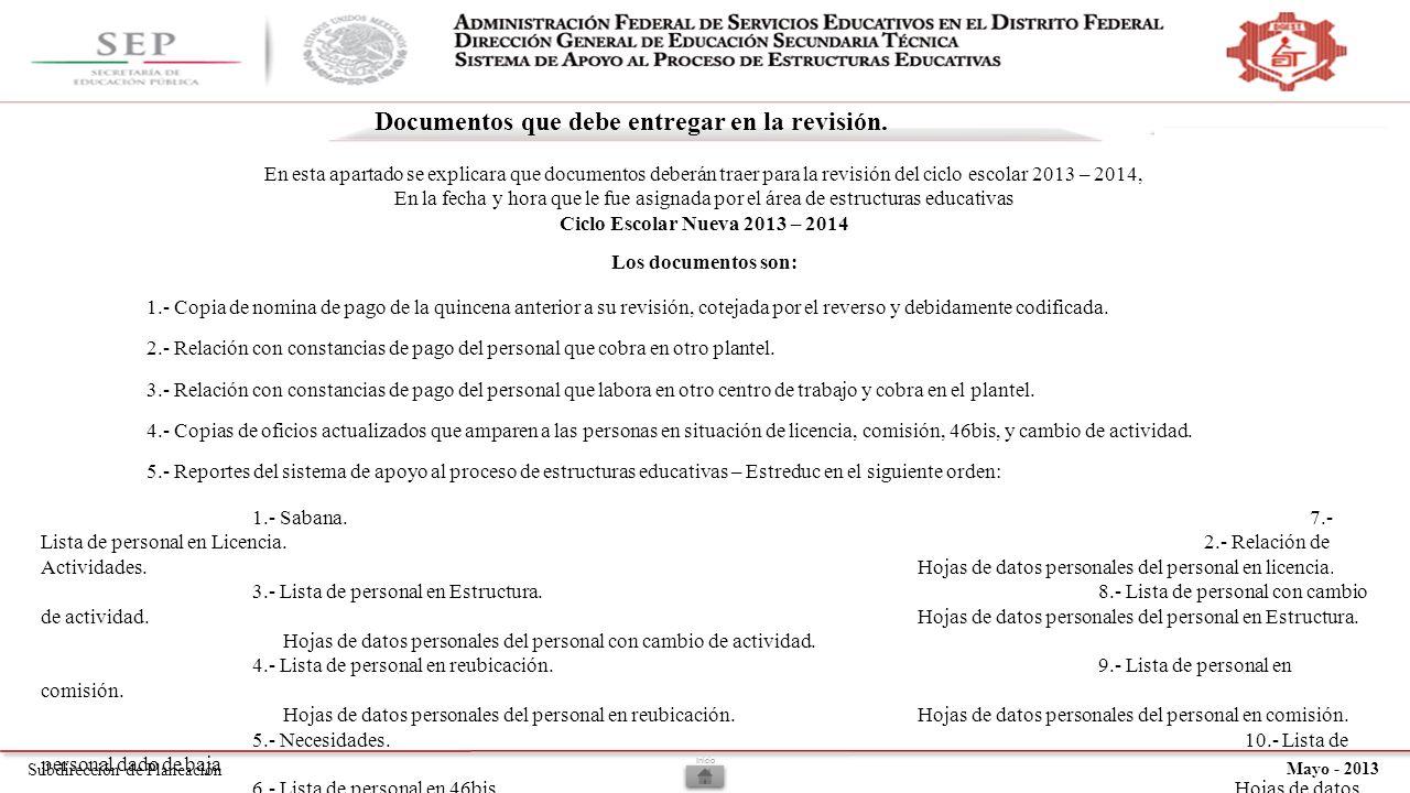 Subdirección de Planeación Mayo - 2013 Documentos que debe entregar en la revisión.
