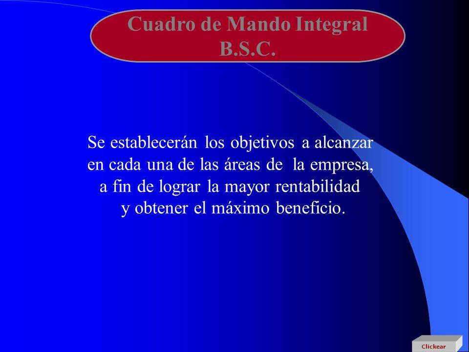 Cuadro de Mando Integral B.S.C. Se establecerán los objetivos a alcanzar en cada una de las áreas de la empresa, a fin de lograr la mayor rentabilidad