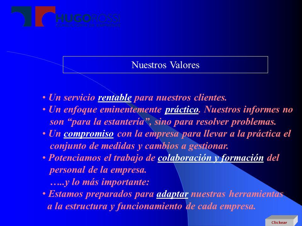 Nuestros Valores Un servicio rentable para nuestros clientes. Un enfoque eminentemente práctico. Nuestros informes no son para la estantería, sino par
