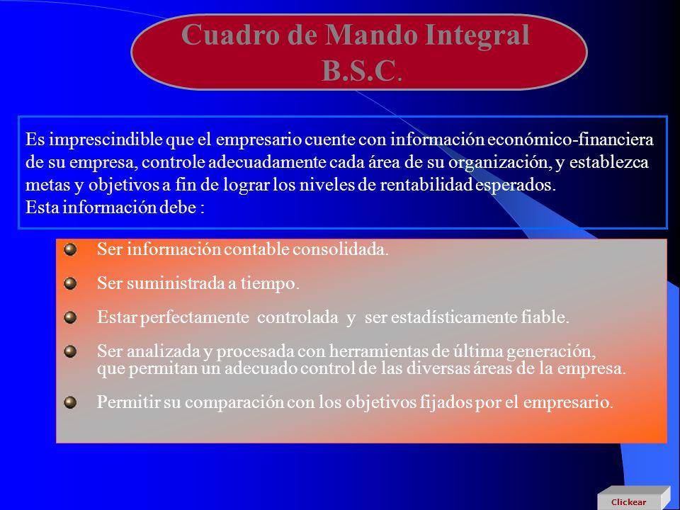 Cuadro de Mando Integral B.S.C. Es imprescindible que el empresario cuente con información económico-financiera de su empresa, controle adecuadamente