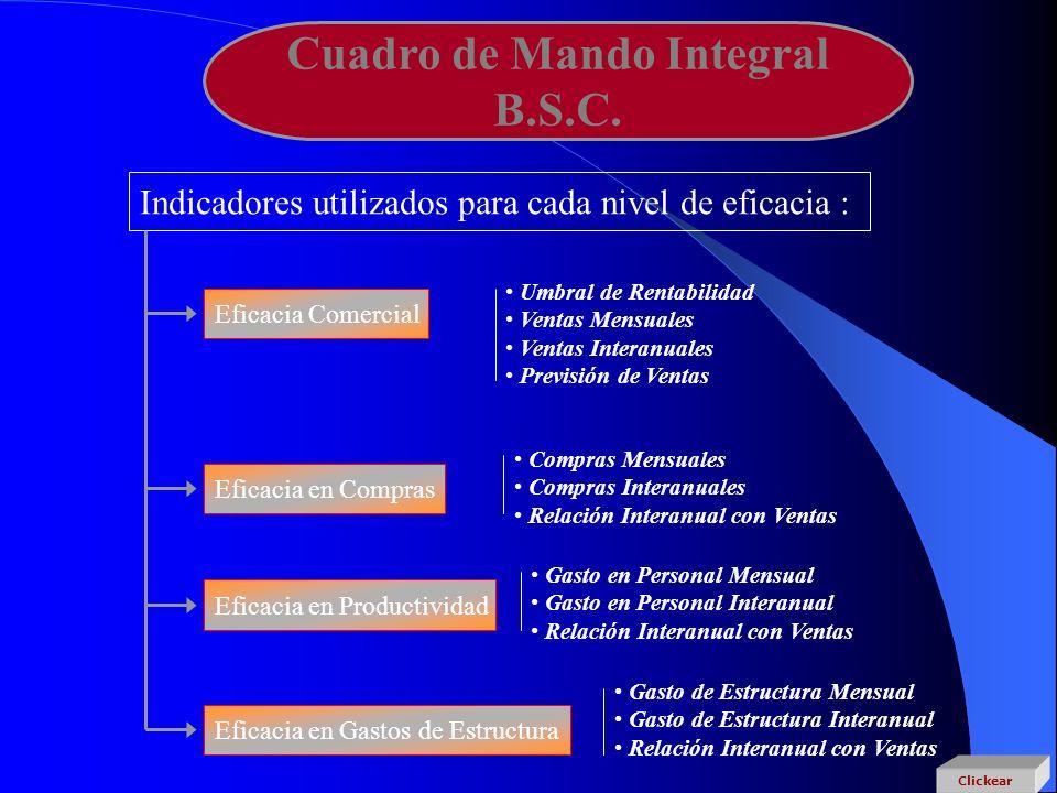 Cuadro de Mando Integral B.S.C. Indicadores utilizados para cada nivel de eficacia : Eficacia Comercial Eficacia en Compras Eficacia en Productividad