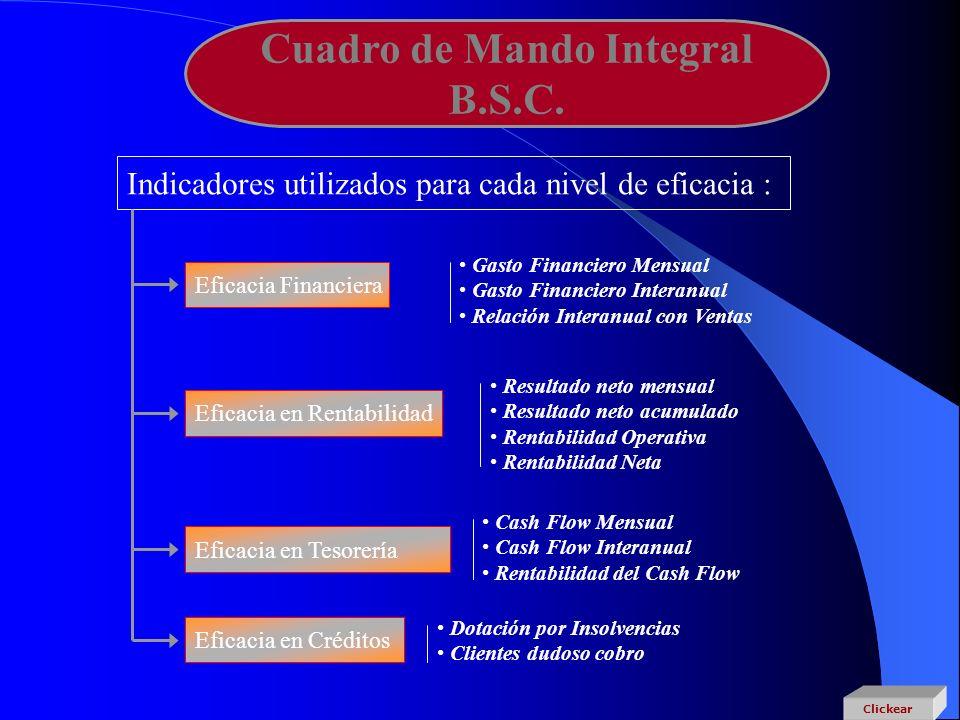 Cuadro de Mando Integral B.S.C. Indicadores utilizados para cada nivel de eficacia : Eficacia Financiera Eficacia en Rentabilidad Eficacia en Tesorerí