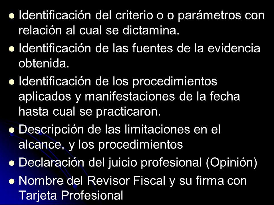 Identificación del criterio o o parámetros con relación al cual se dictamina.